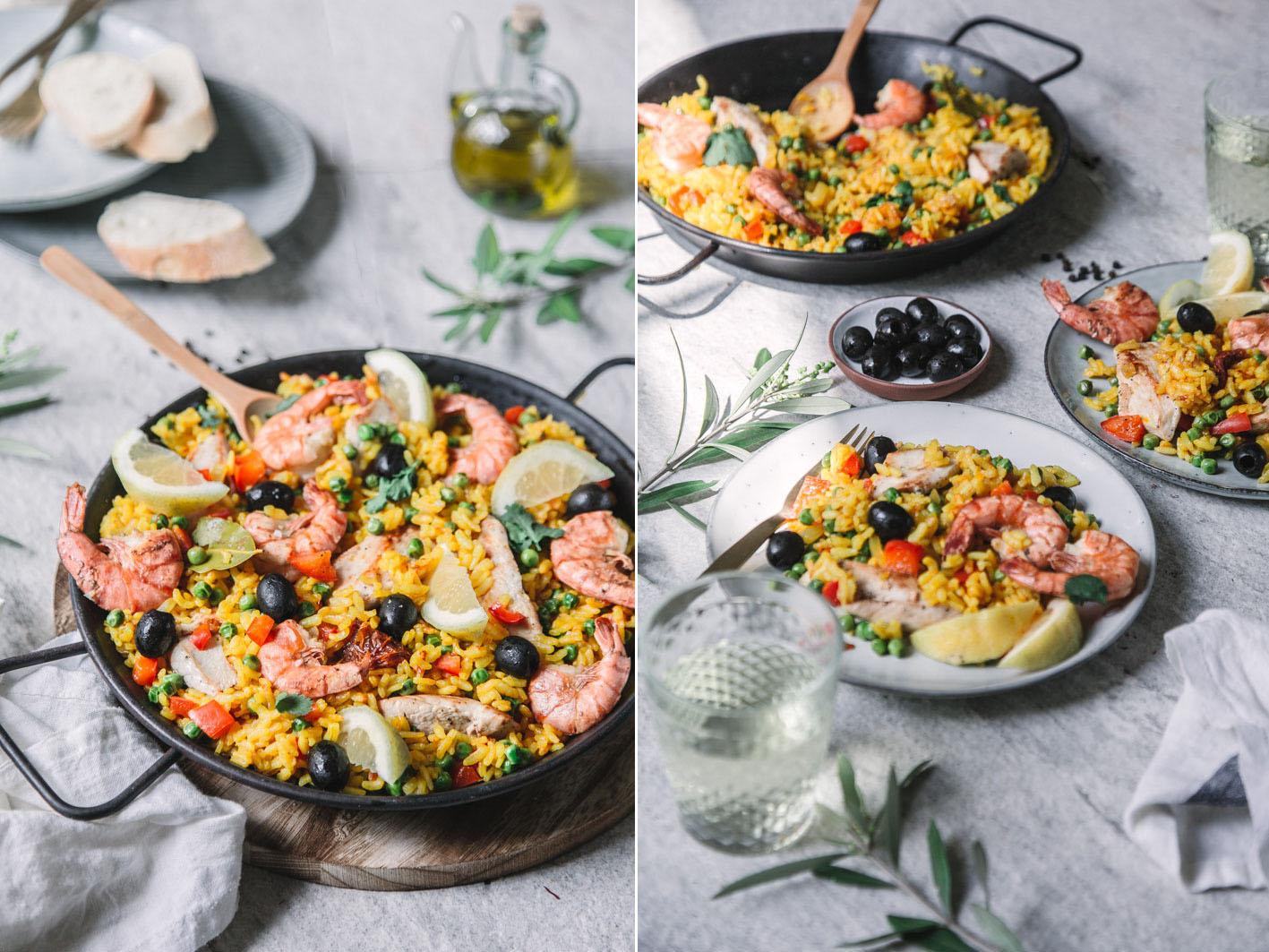 Rezept für einfache Paella mit Garnelen