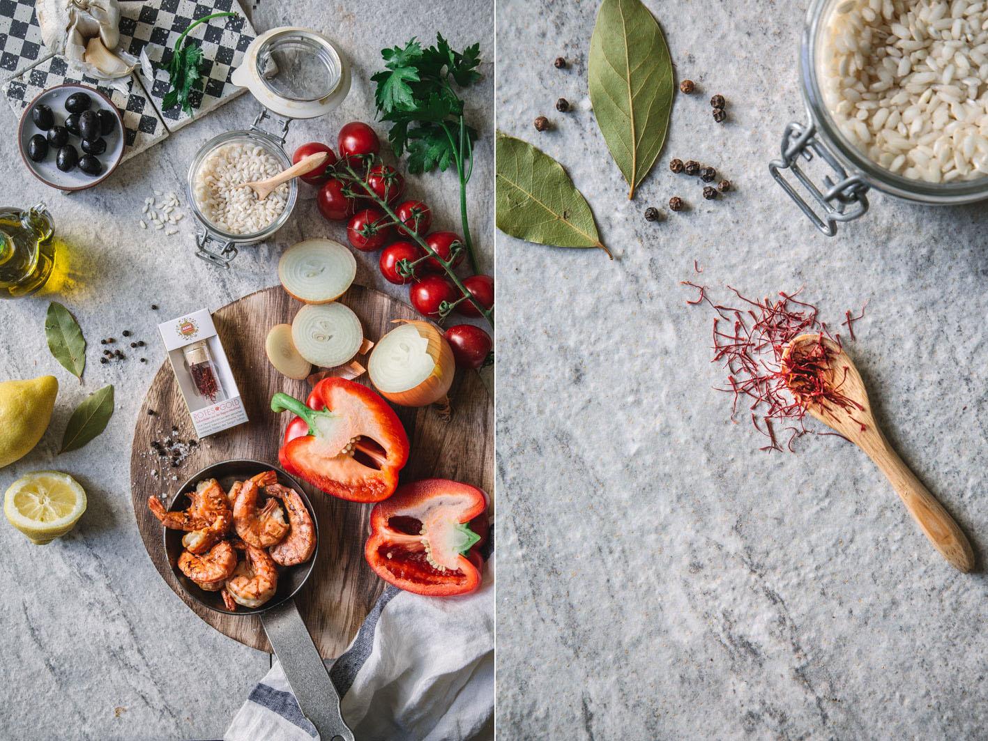 Paella mit Safran und Gemüse