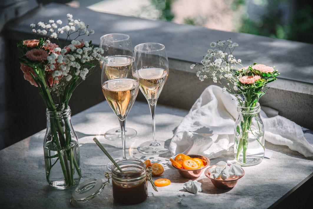 Pommery Rosé auf der Terasse