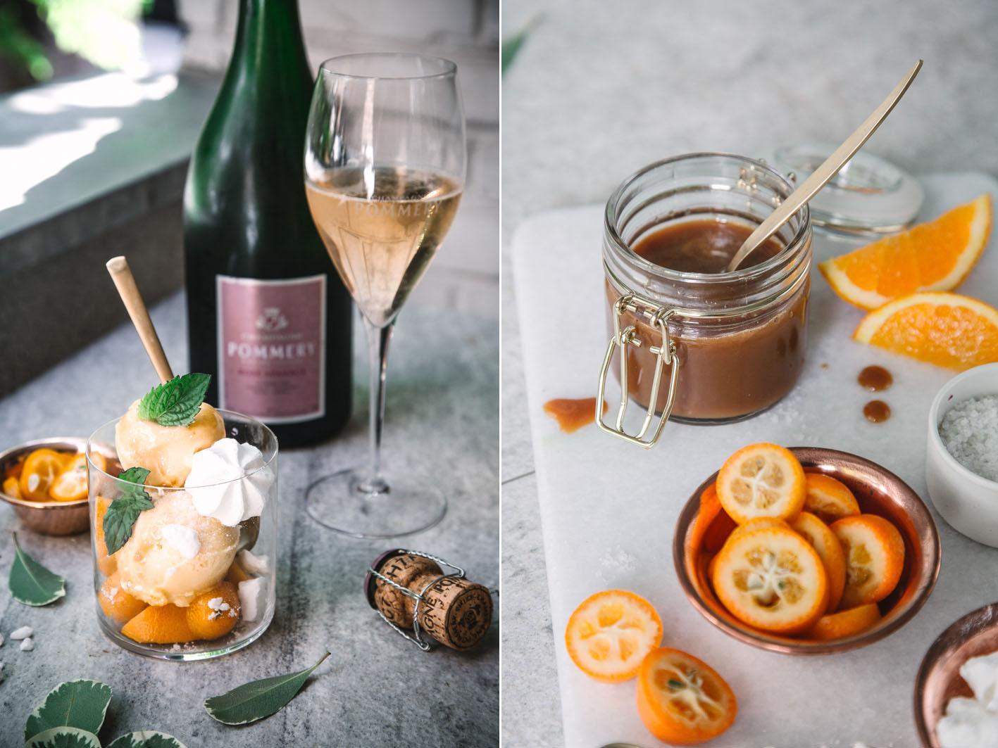 Champagner-Orangensorbet mit Salzkaramell