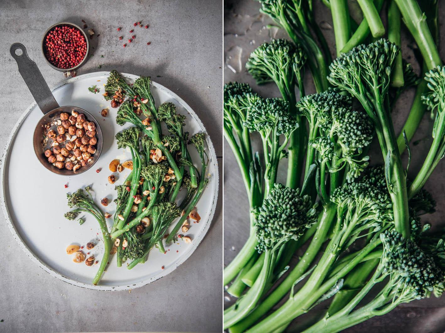 Bimi Broccolini geröstet mit Haselnüssen