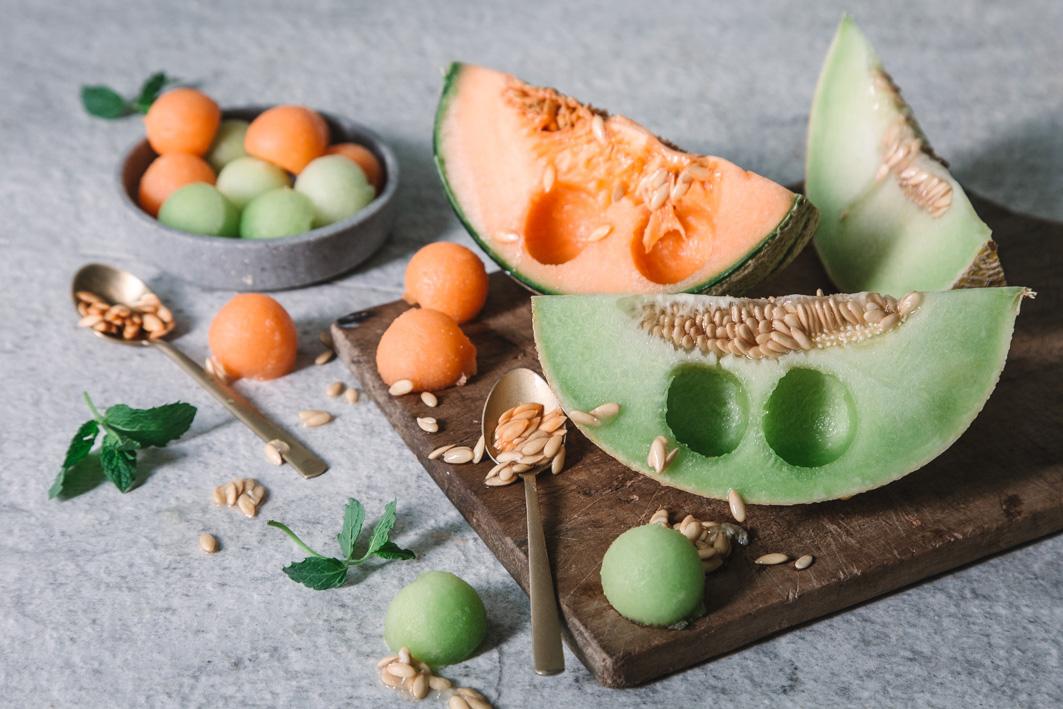 Ausgestochene Melonenkugeln