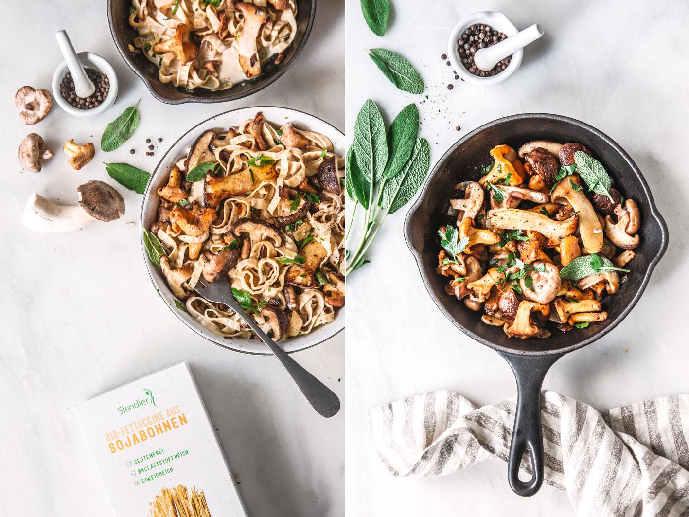 Sojabohnen Pasta mit Pilzen