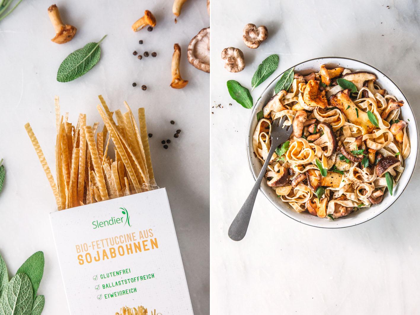 Rezept für vegane Pilzpasta mit Sojanudeln