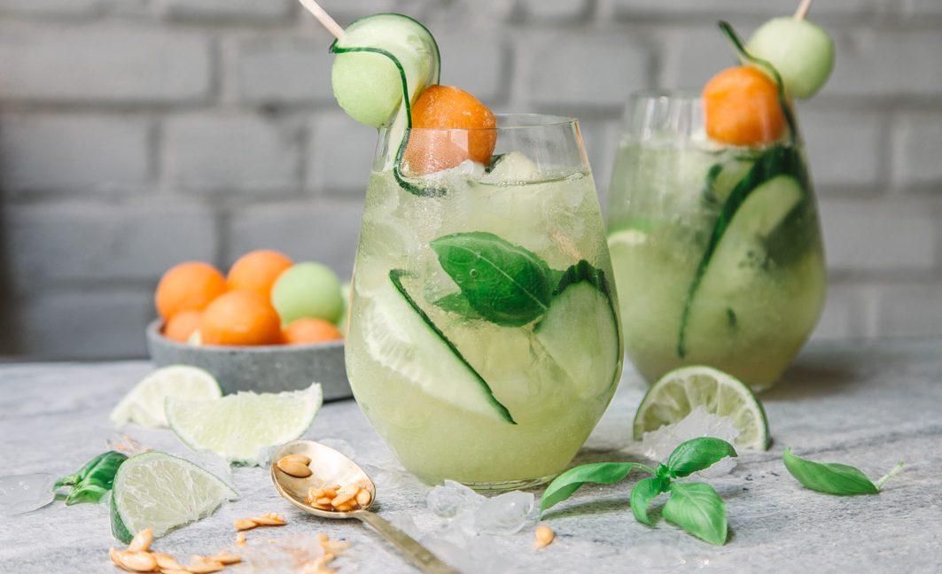 Sweet Melon Basil – sommerlicher Drink mit Süßwein aus dem Roussillon.