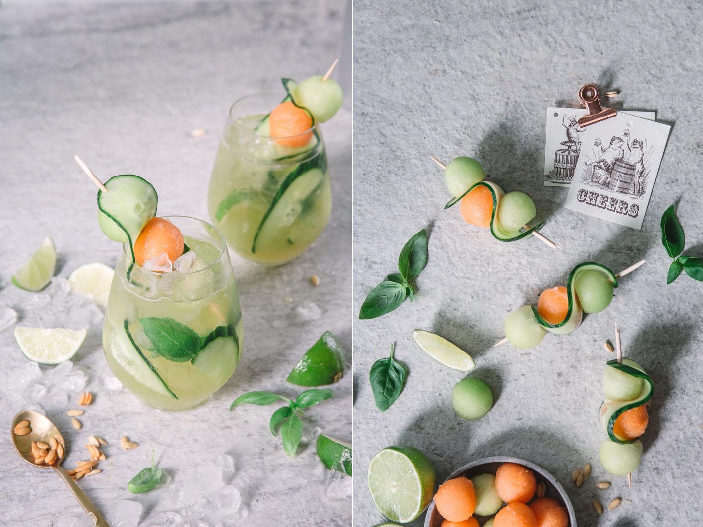 Sommercocktail mit Melone und Gurke