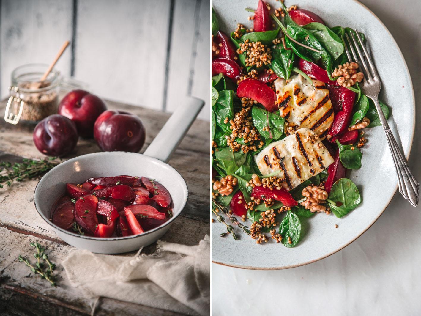 Salat mit Halloumi und gerösteten Pflaumen