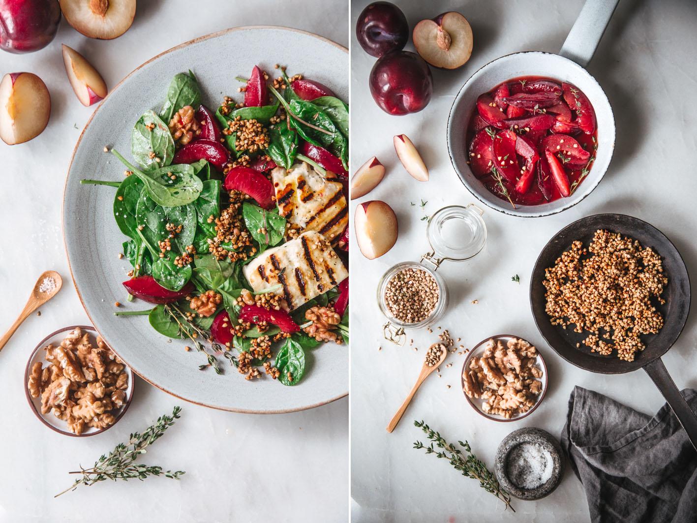 Salat mit gerösteten Pflaumen und knusrpigem Buchweizen
