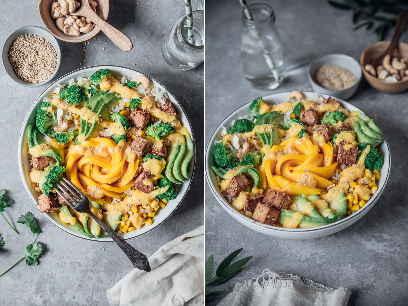 Vegane sommerliche Bowl mit Mango und Tofu