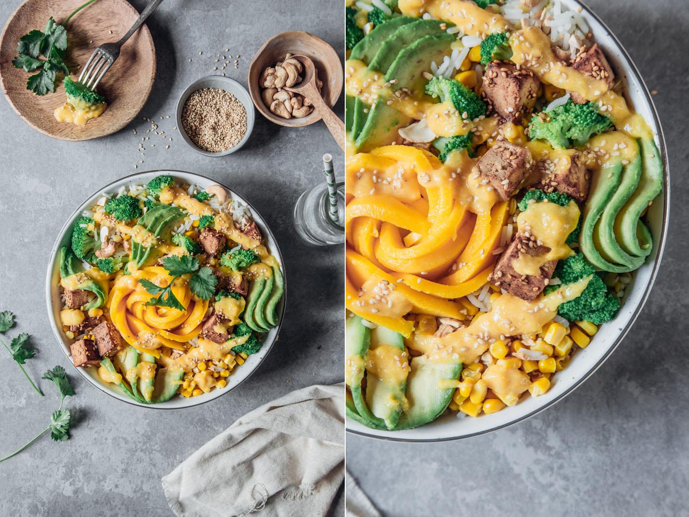 Sommerliche Reis-Bowl mit Mango und Tofu