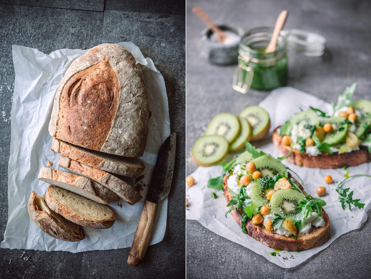 Tartine mit Kiwi und Mozzarella