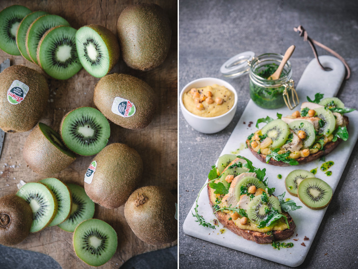 Tartine mit Kiwi und Hühnchen