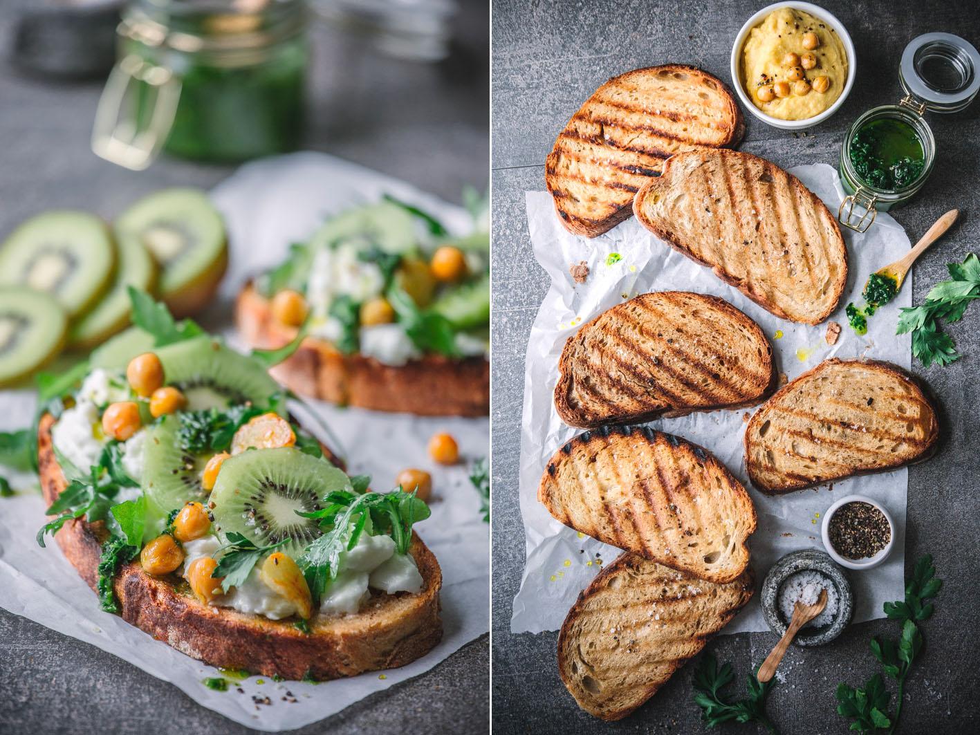 Tartines mit Kiwi und Mozzarella