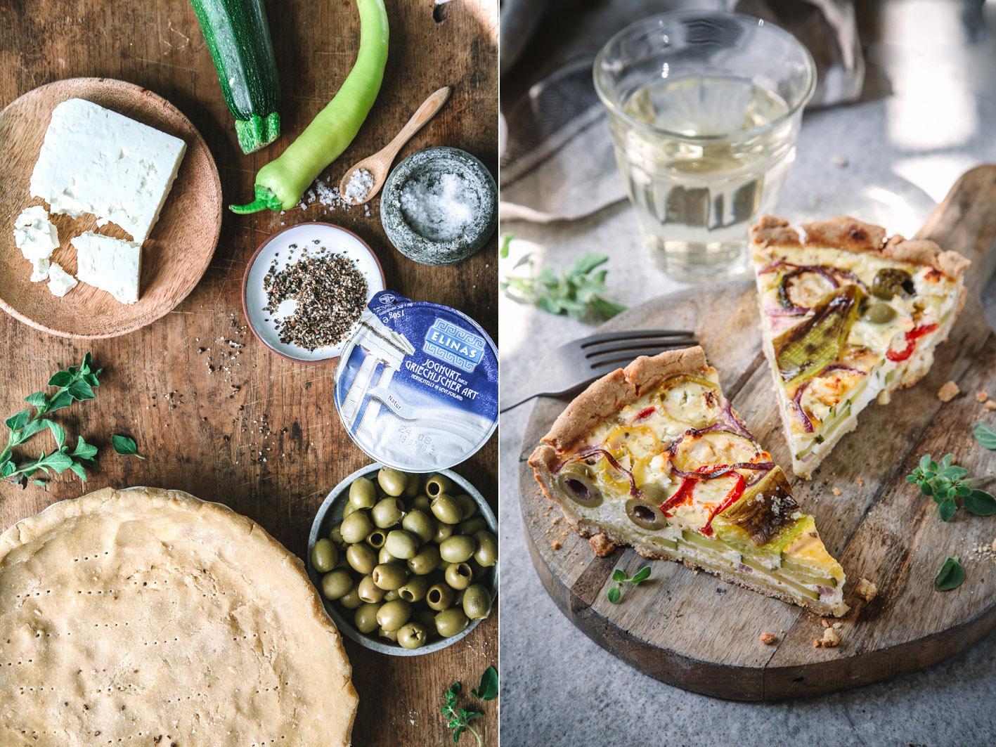 Zutaten für griechische Quiche mit Gemüse