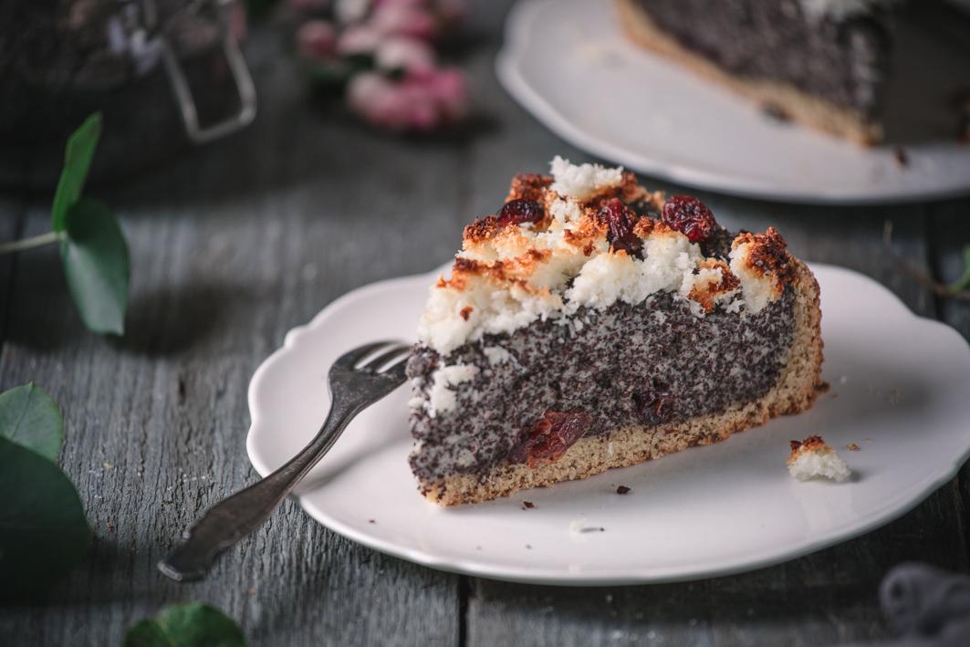 Rezept für gesünderen Mohnkuchen mit Kokosstreuseln
