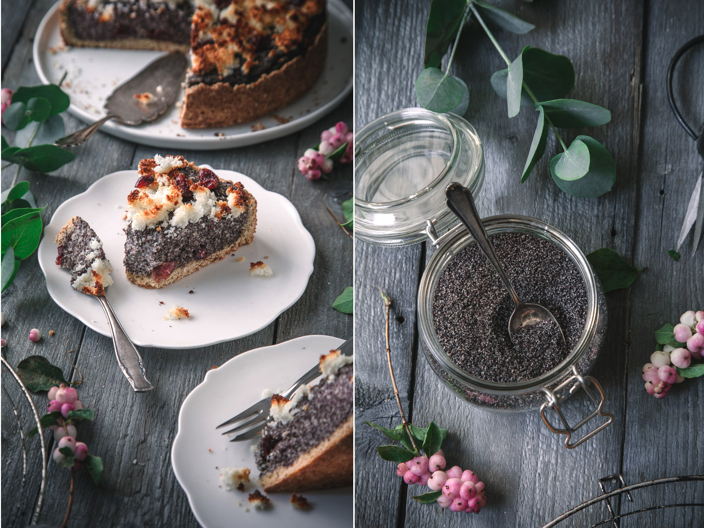 Rezept für Mohnkuchen mit Kokosstreuseln