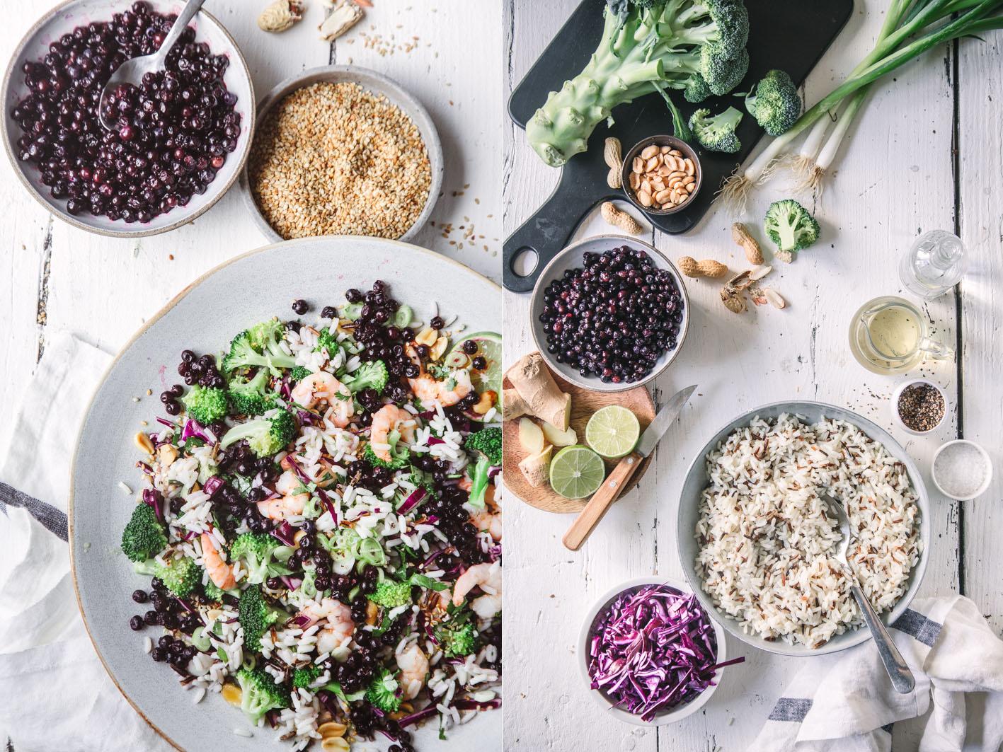 Reissalat mit Blaubeeren, Broccoli und Shrimps