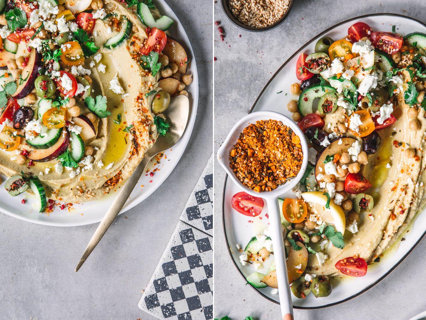 Cremiger Hummus mit verschiedenen Toppings