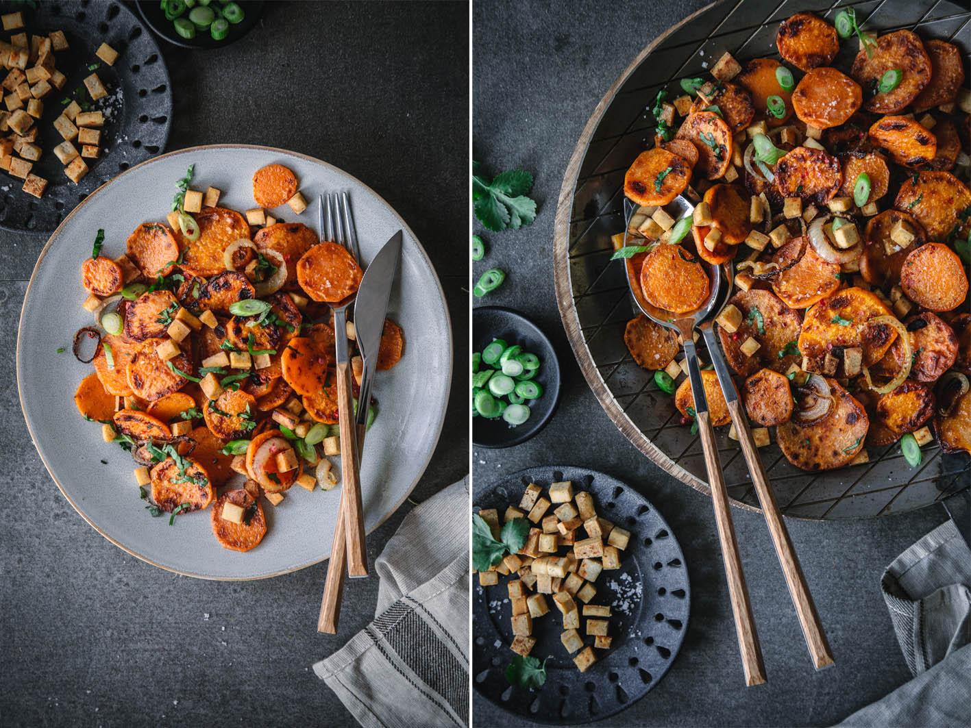 Brat-Süßkartoffeln mit Zwiebeln und Tofu