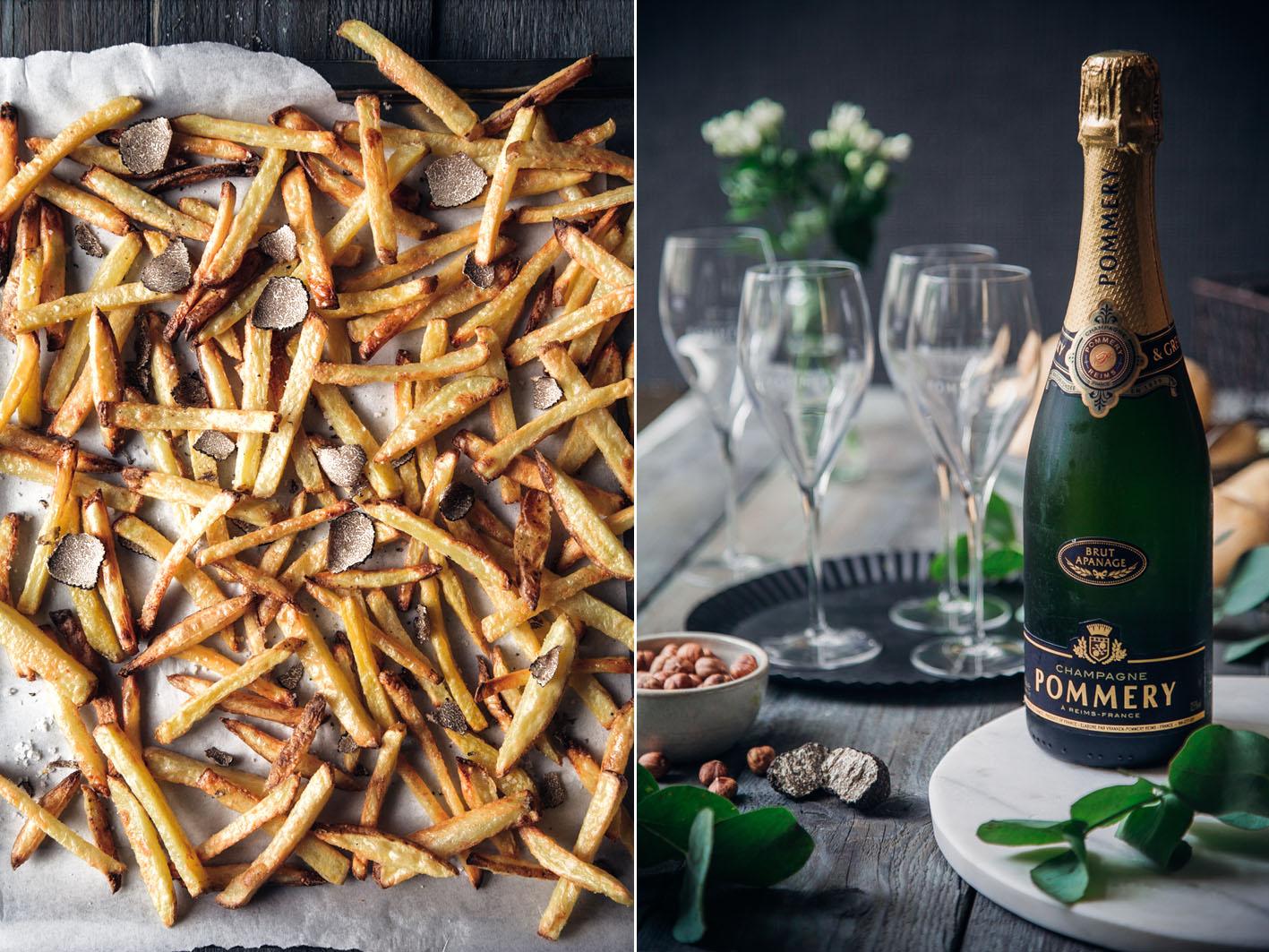 Trüffelpommes und Champagner