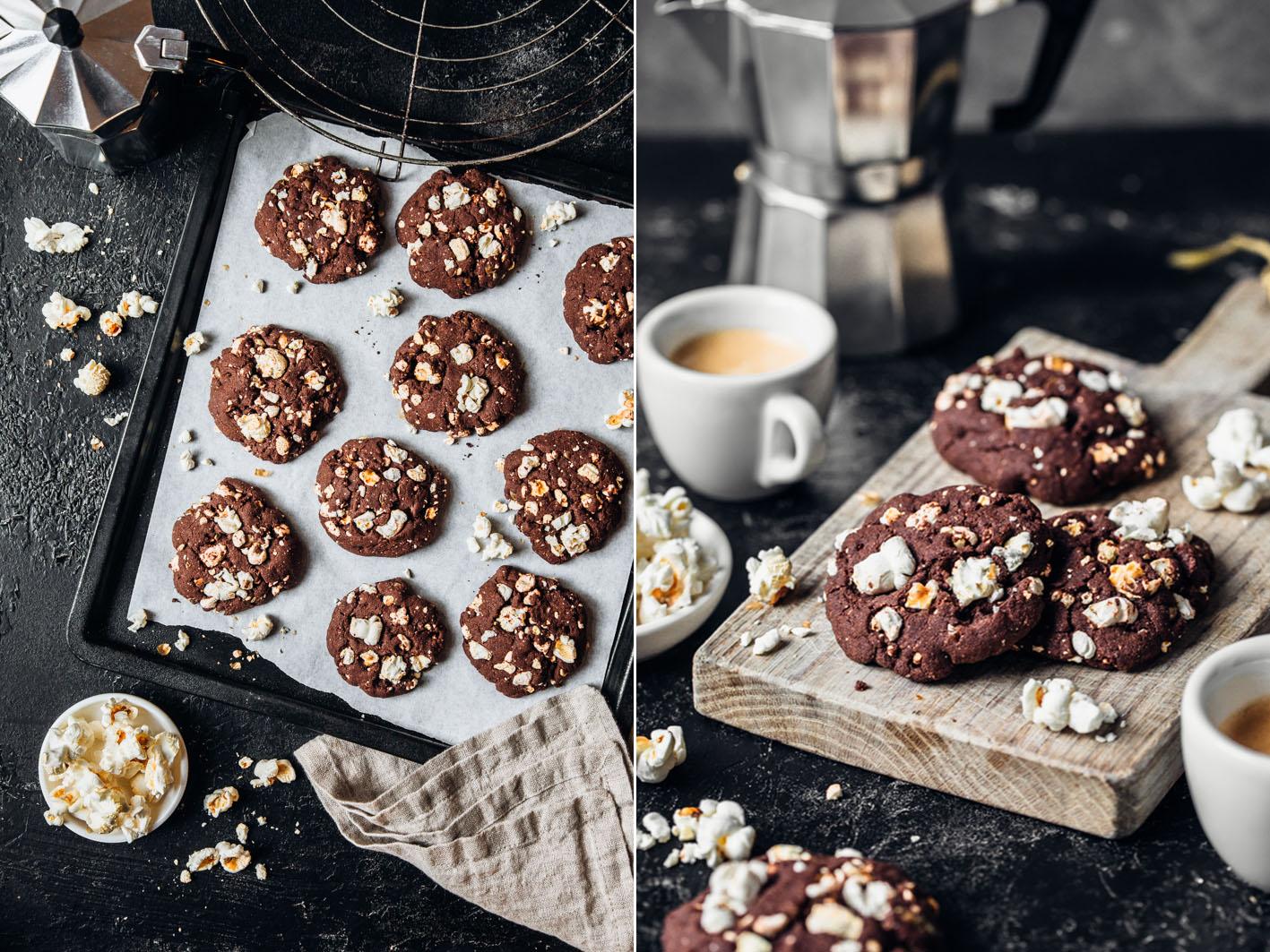 Schokoladen-Cookies aus gesunden Zutaten mit Popcorn