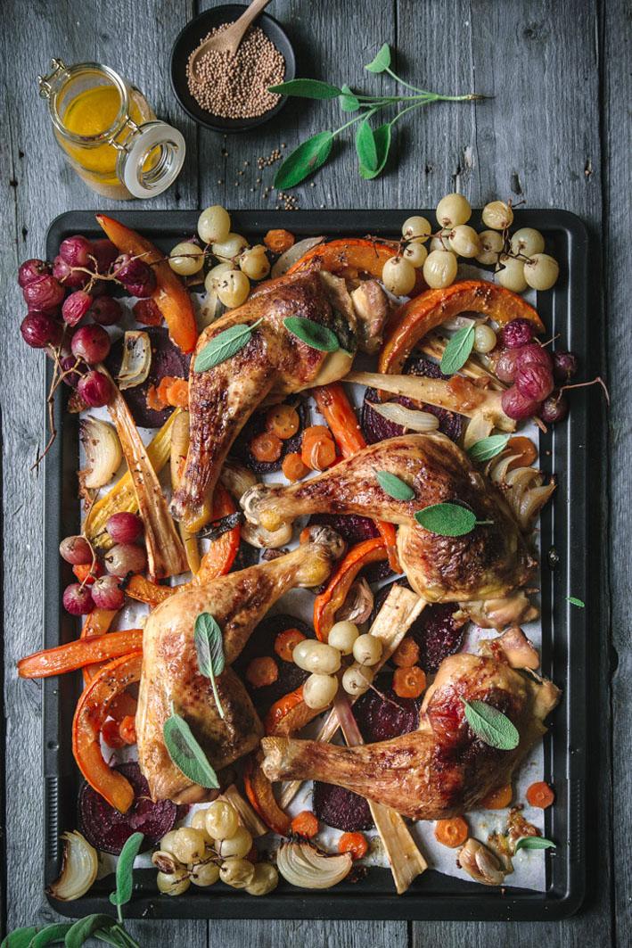 Hähnchen und Herbstgemüse vom Blech