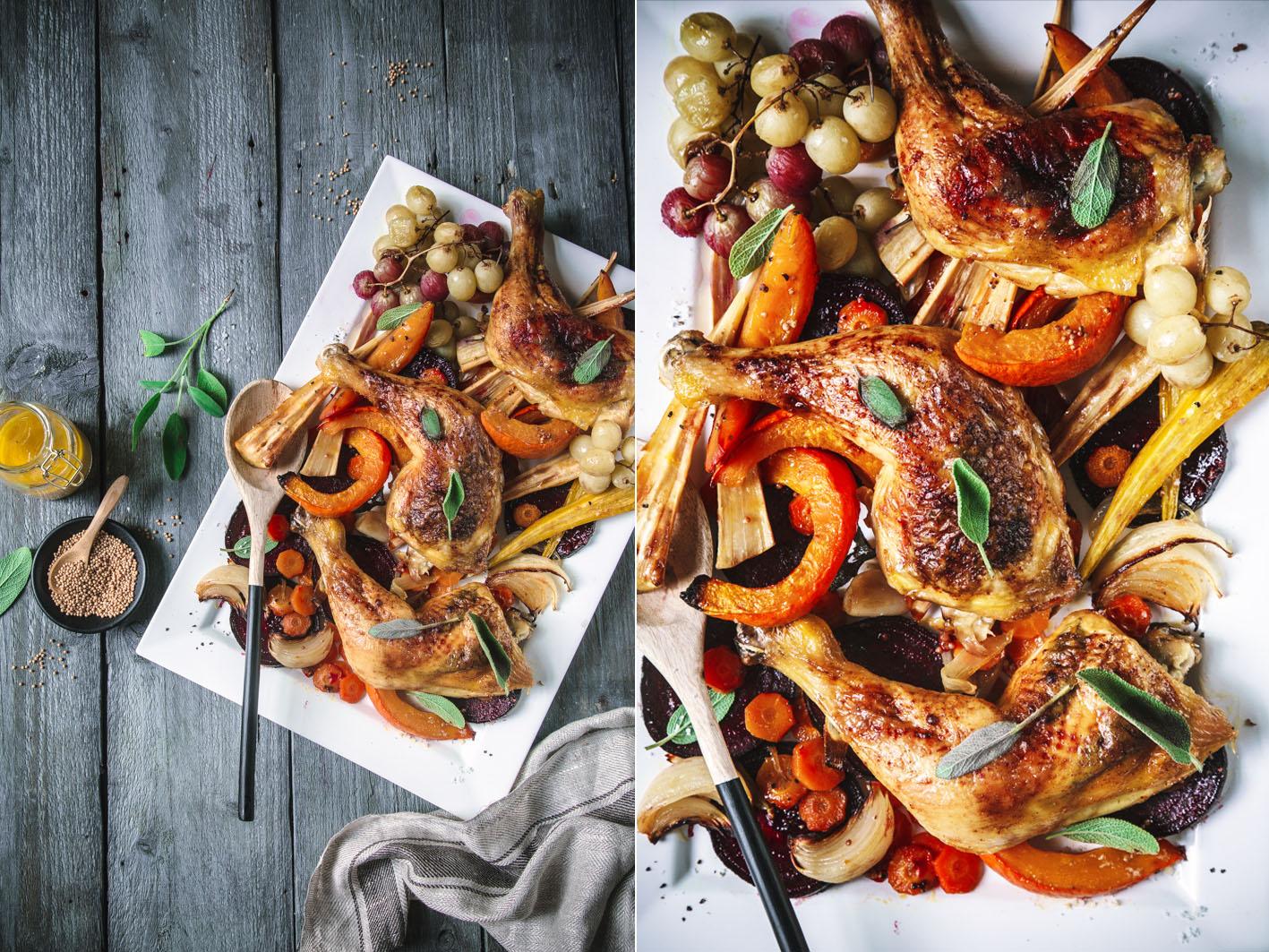 Hähnchen und Gemüse aus dem Ofen