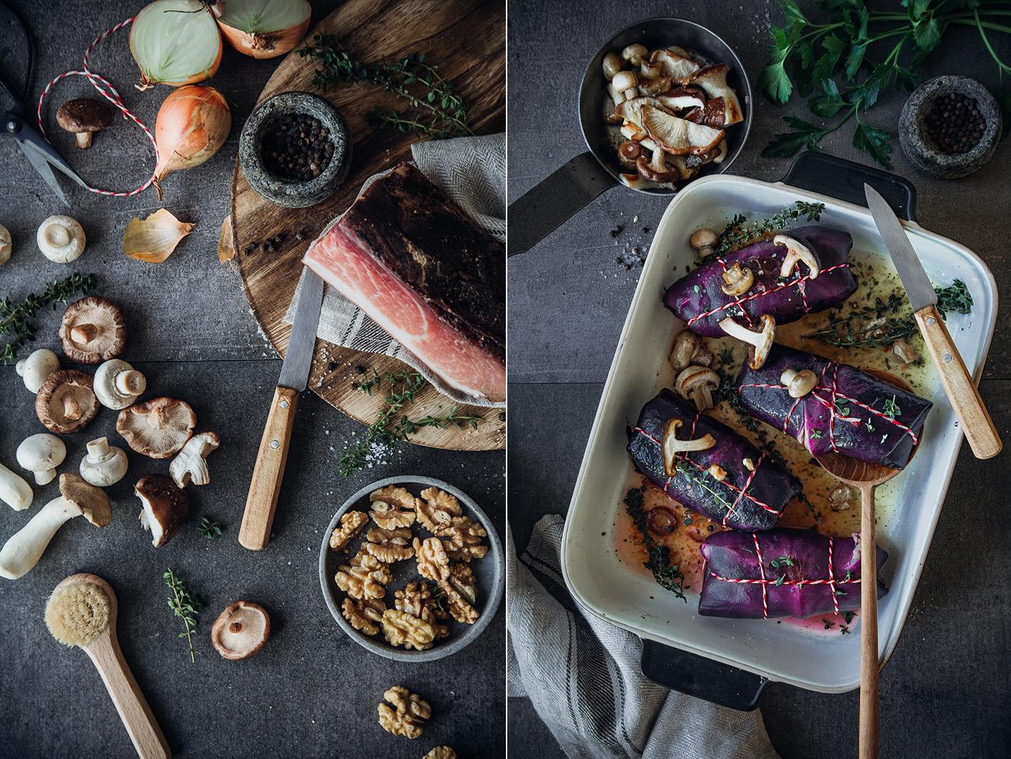 Rotkohl-Rouladen mit Quinoa