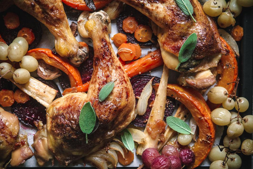 Salbei Hähnchen mit Ofengemüse