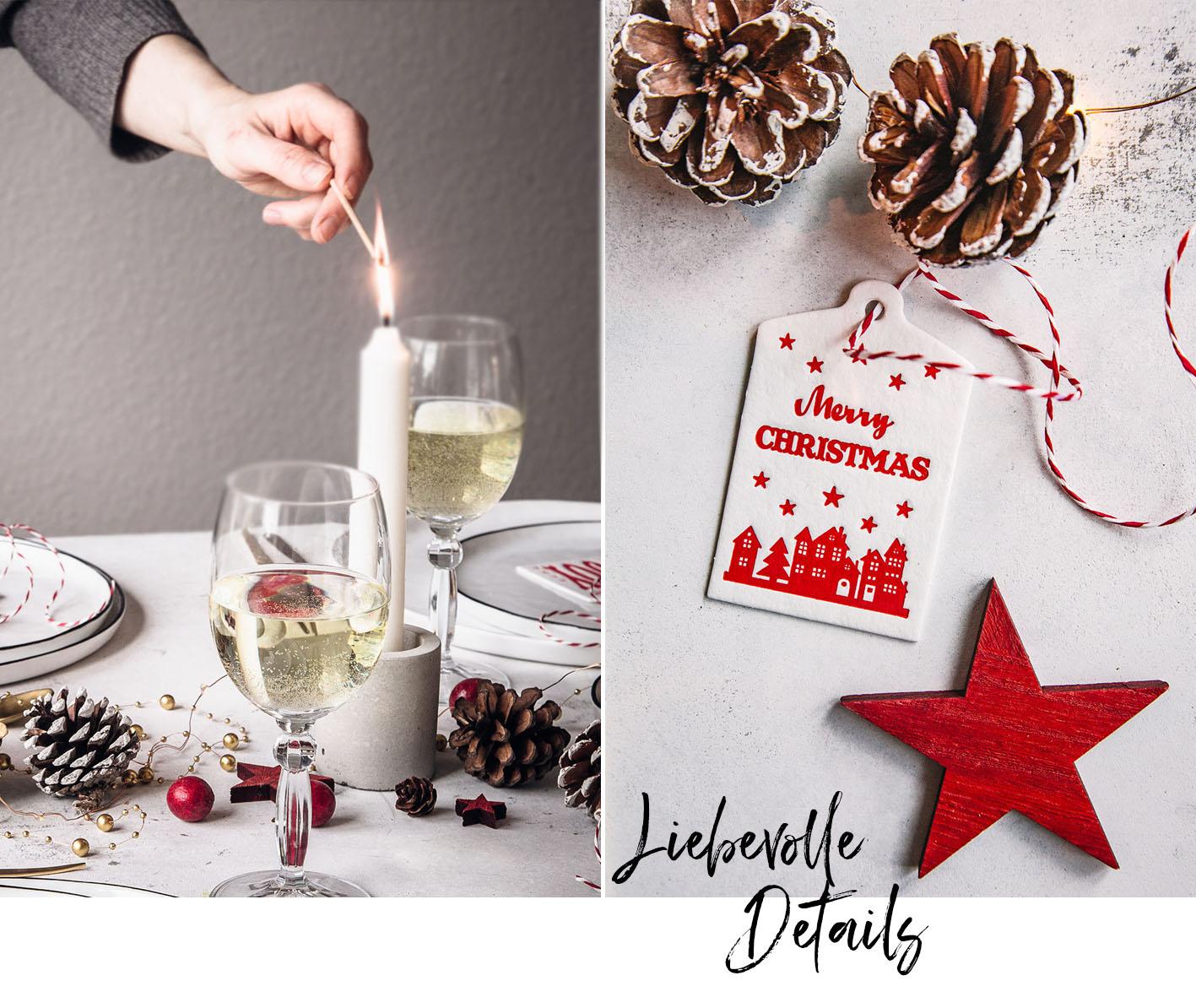Details weihnachtliche Tischdeko