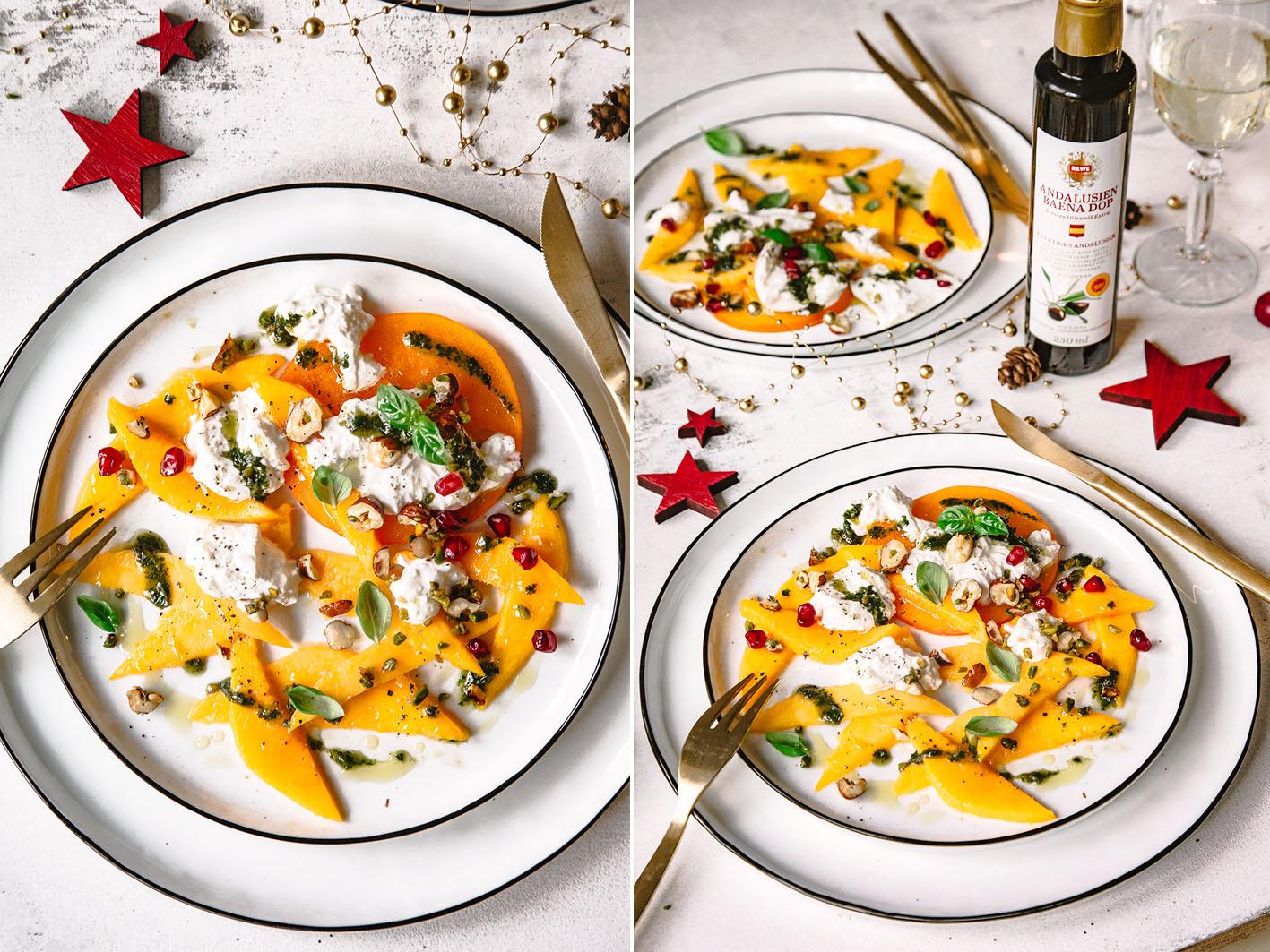 Mango-Carpaccio mit Burana und Nüssen