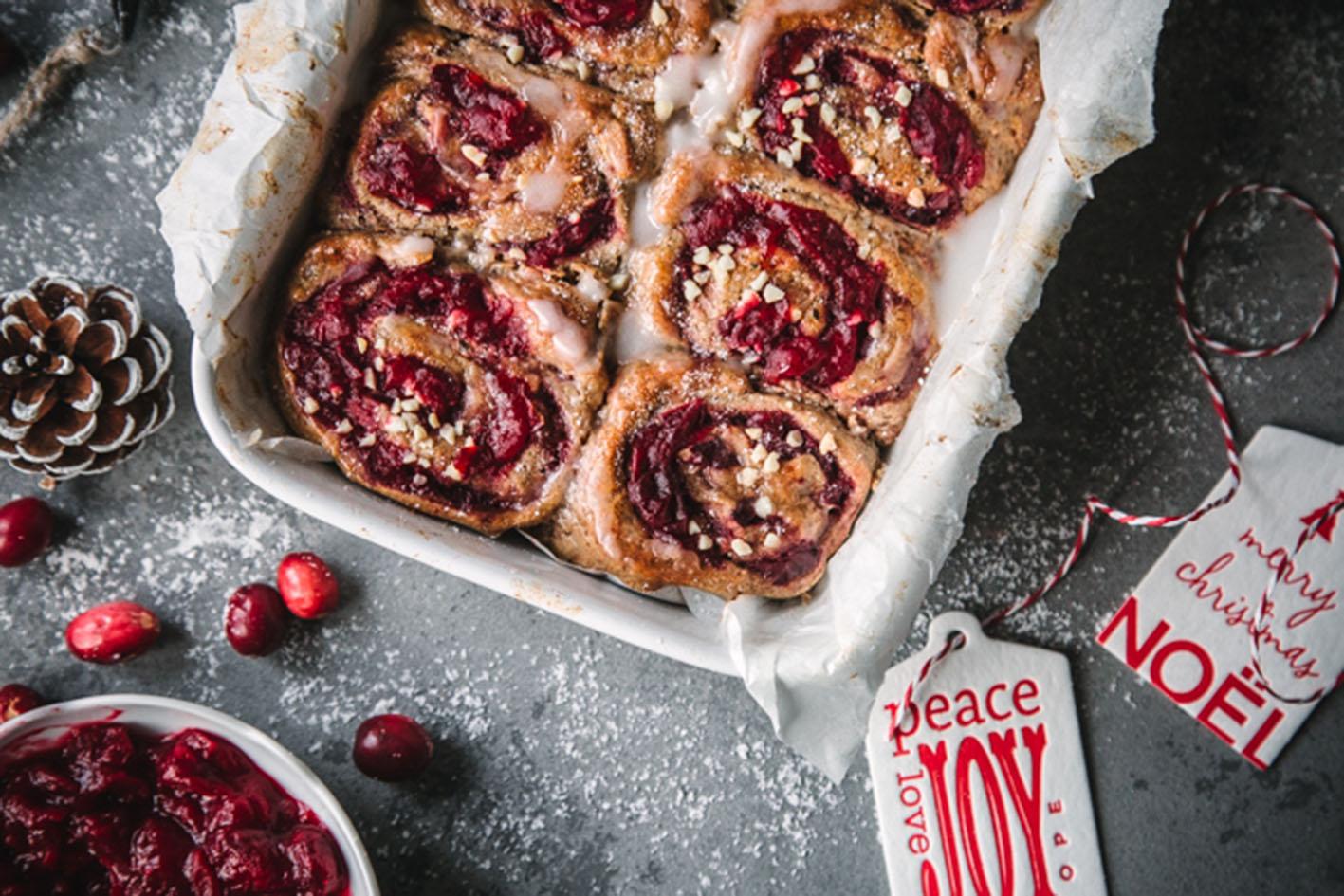 Lebkuchenschnecken mit Cranberry-Swirl