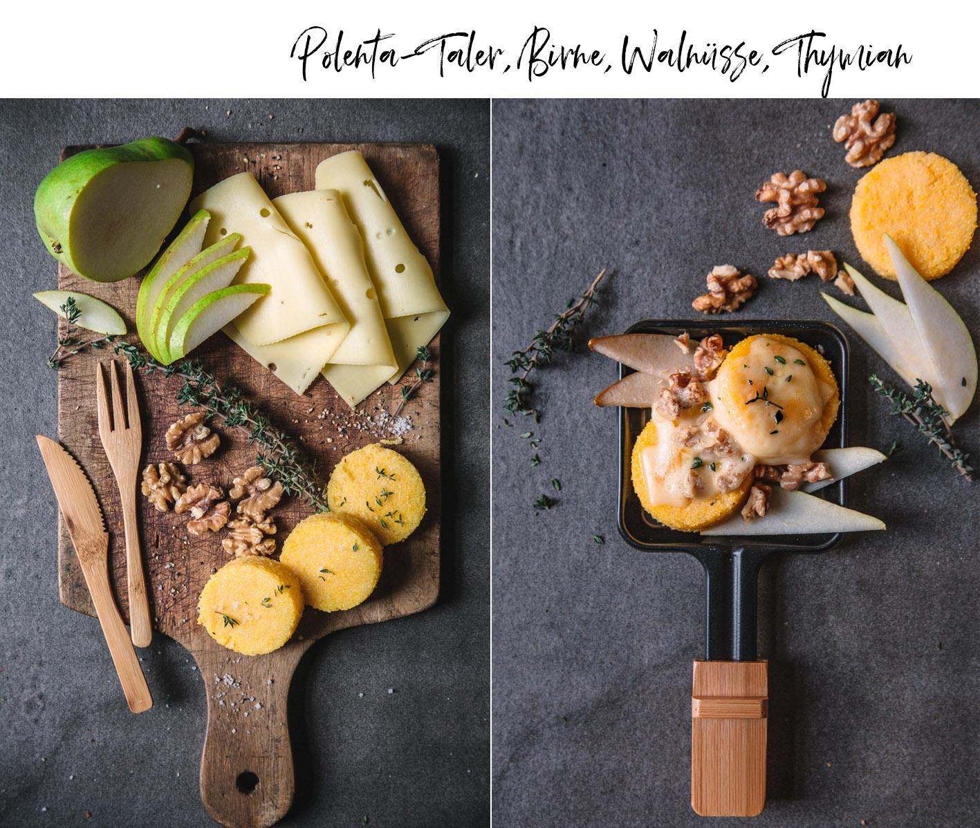 Raclettepfännchen mit Polentatalern und Birne