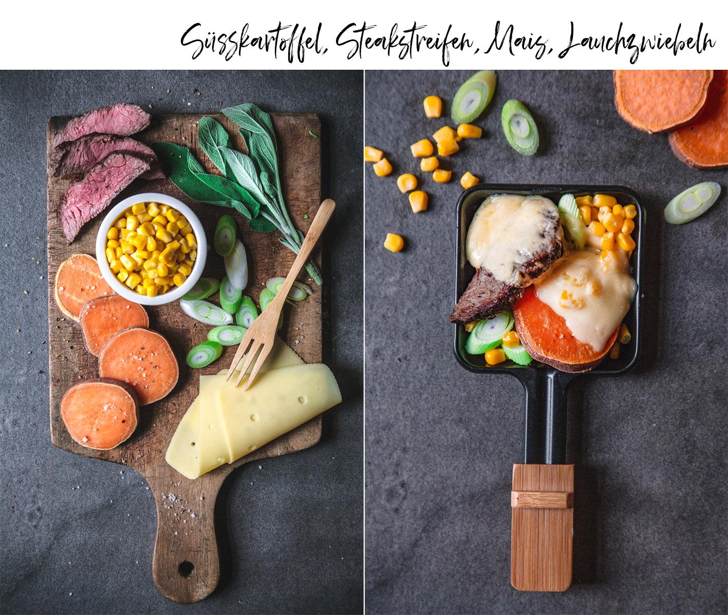 Raclettepfännchen mit Süßkartoffeln und Steakstreifen