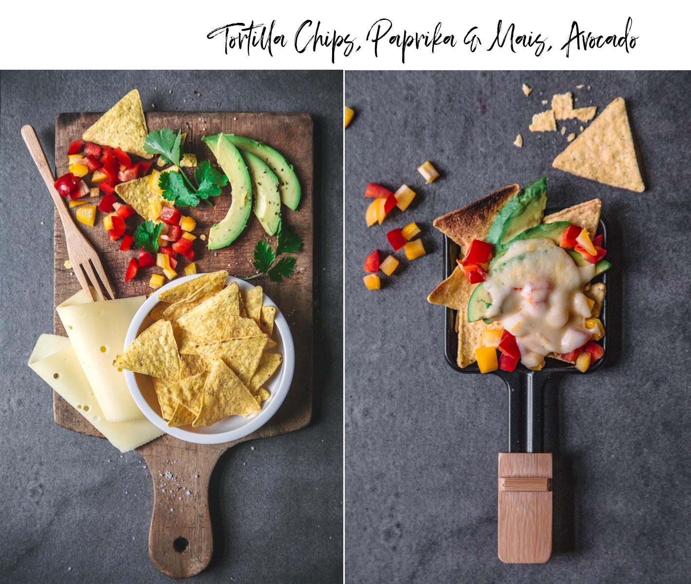 Raclettepfännchen mit Tortilla Chips und Avocado