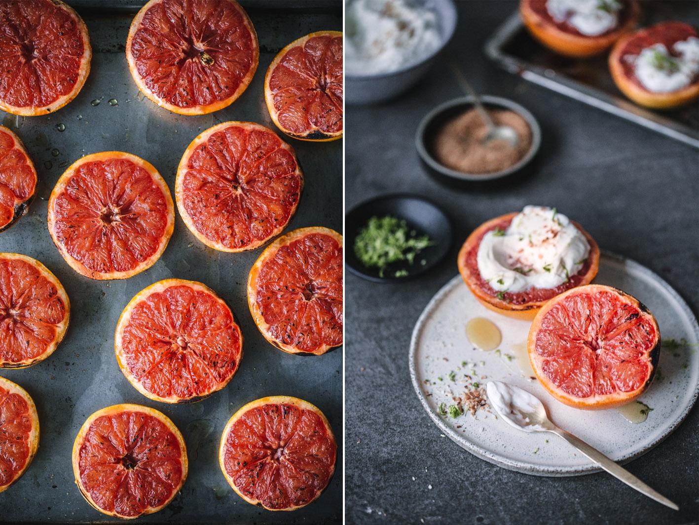 Gegrillte Grapefruits mit Kokosjoghurt