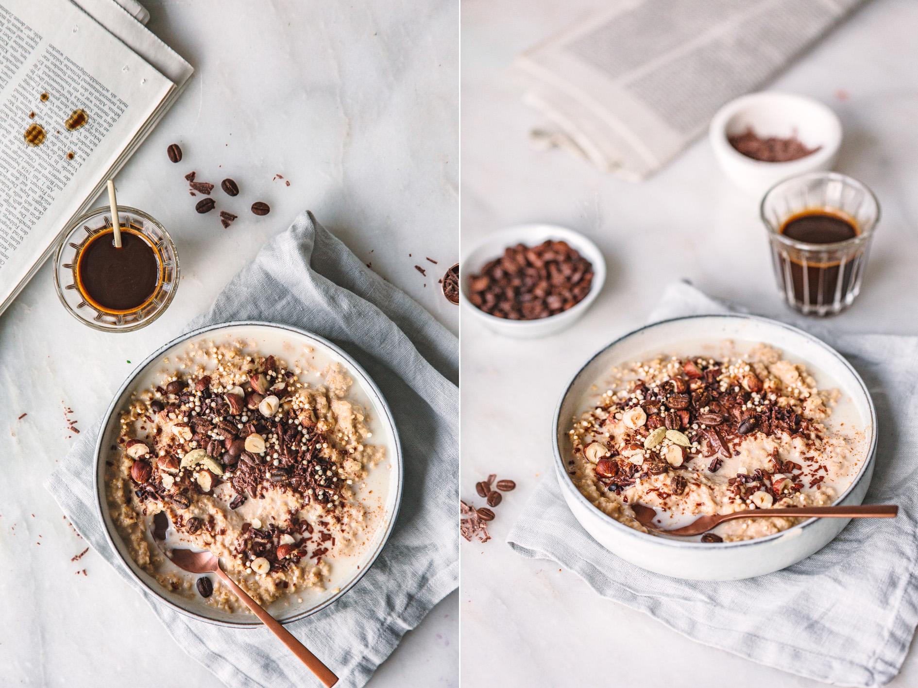 Haferflocken mit Kaffee und Schokolade