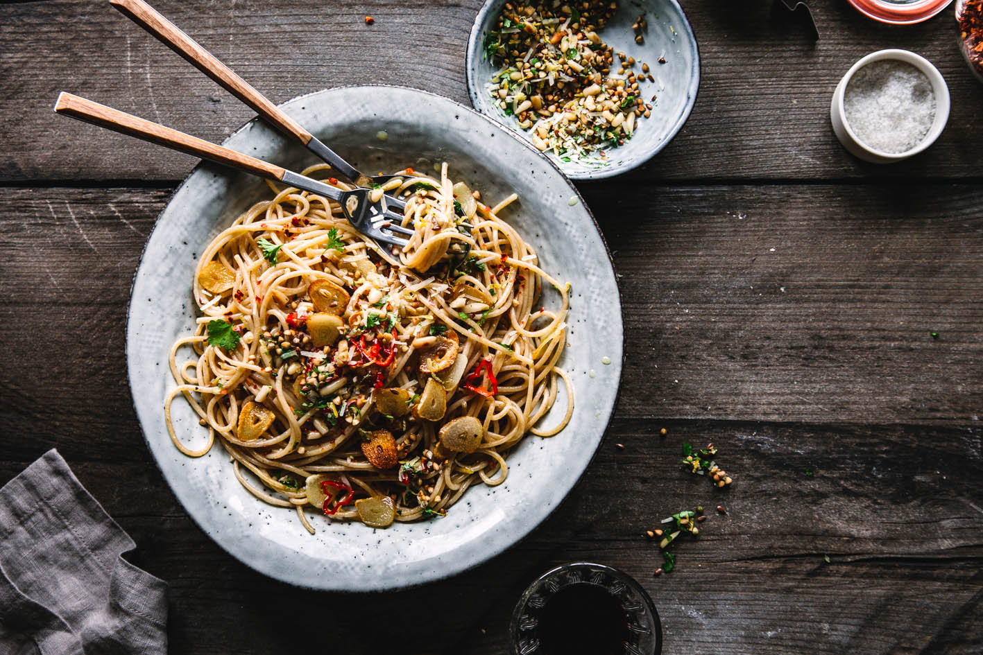 Gesunde Spaghetti Alio Olio
