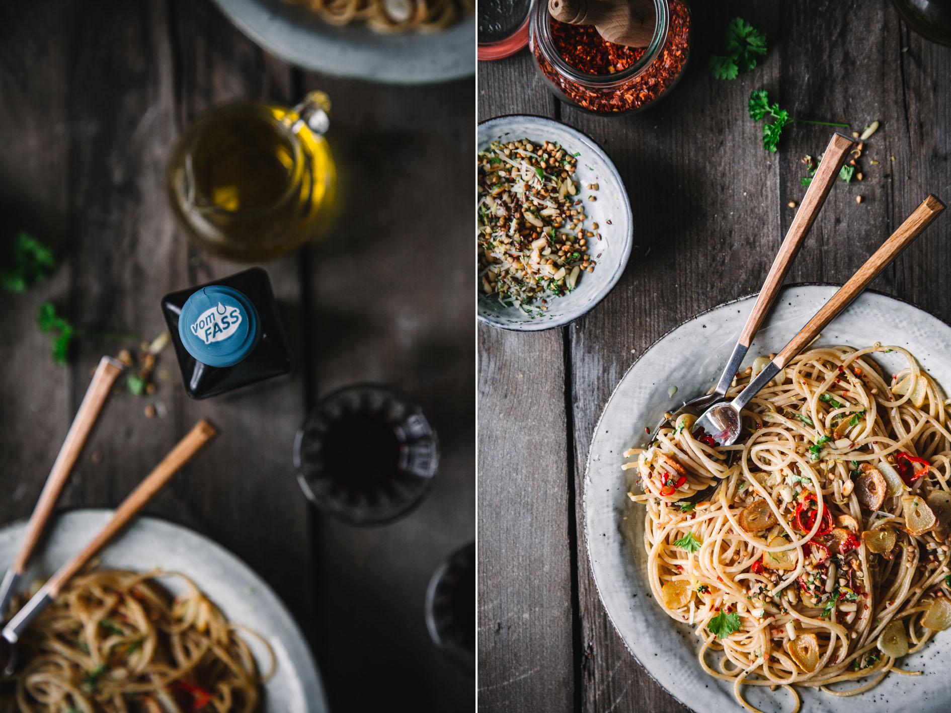 Spaghetti Alio Olio mit gesundem Öl
