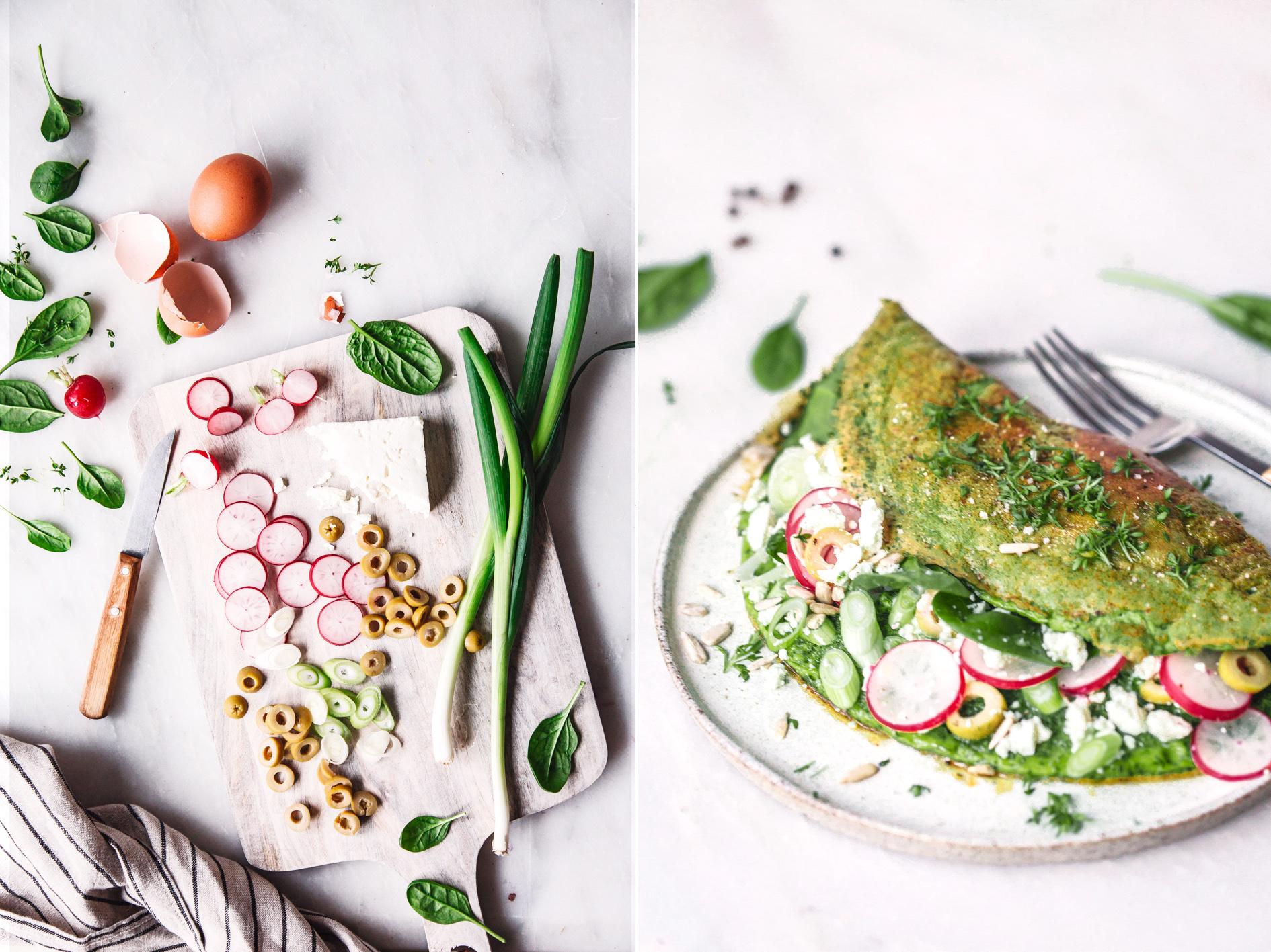 Zutaten für Spinat Omelette mit Feta