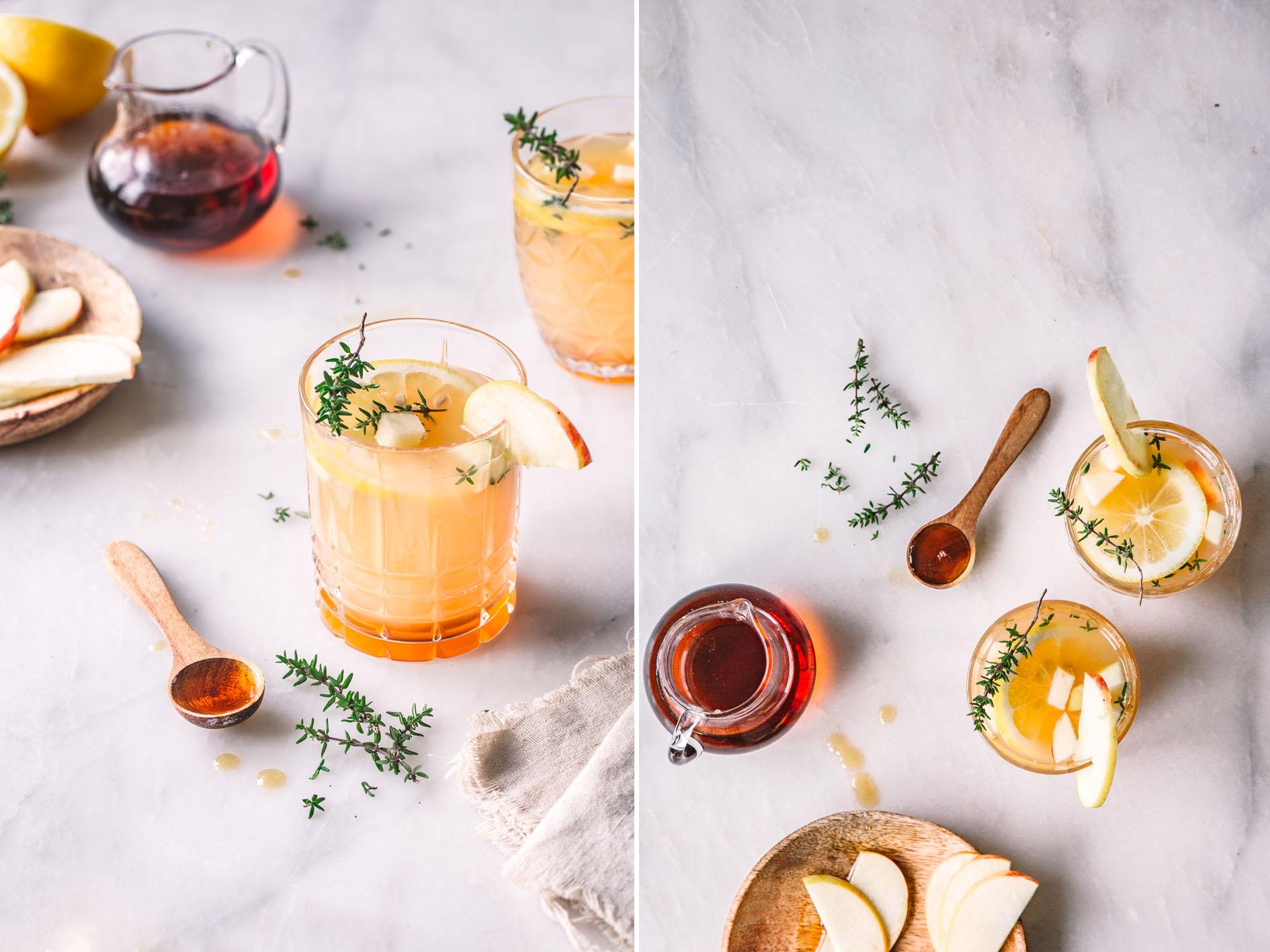 Drink mit Apfel, Thymian und Ahornsirup