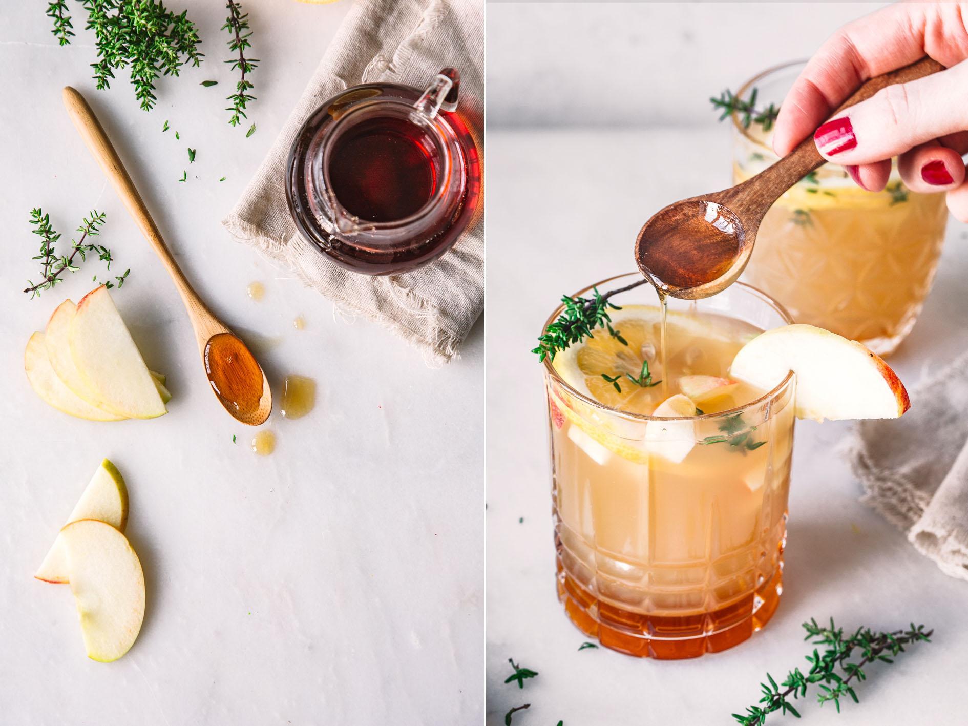 Drink mit Apfelsaft und Ahornsirup