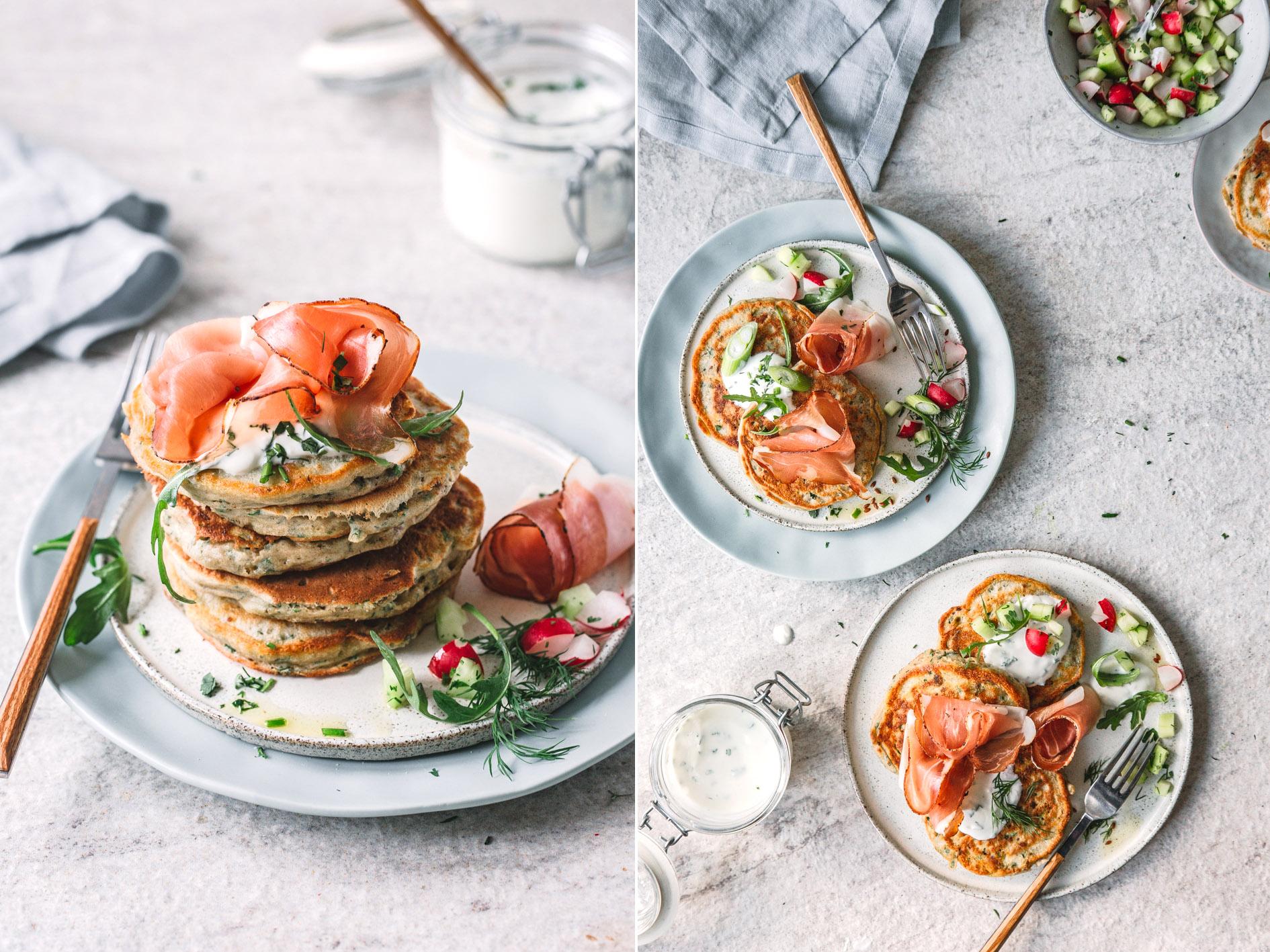 Herzhafte Pancakes mit Südtiroler Speck