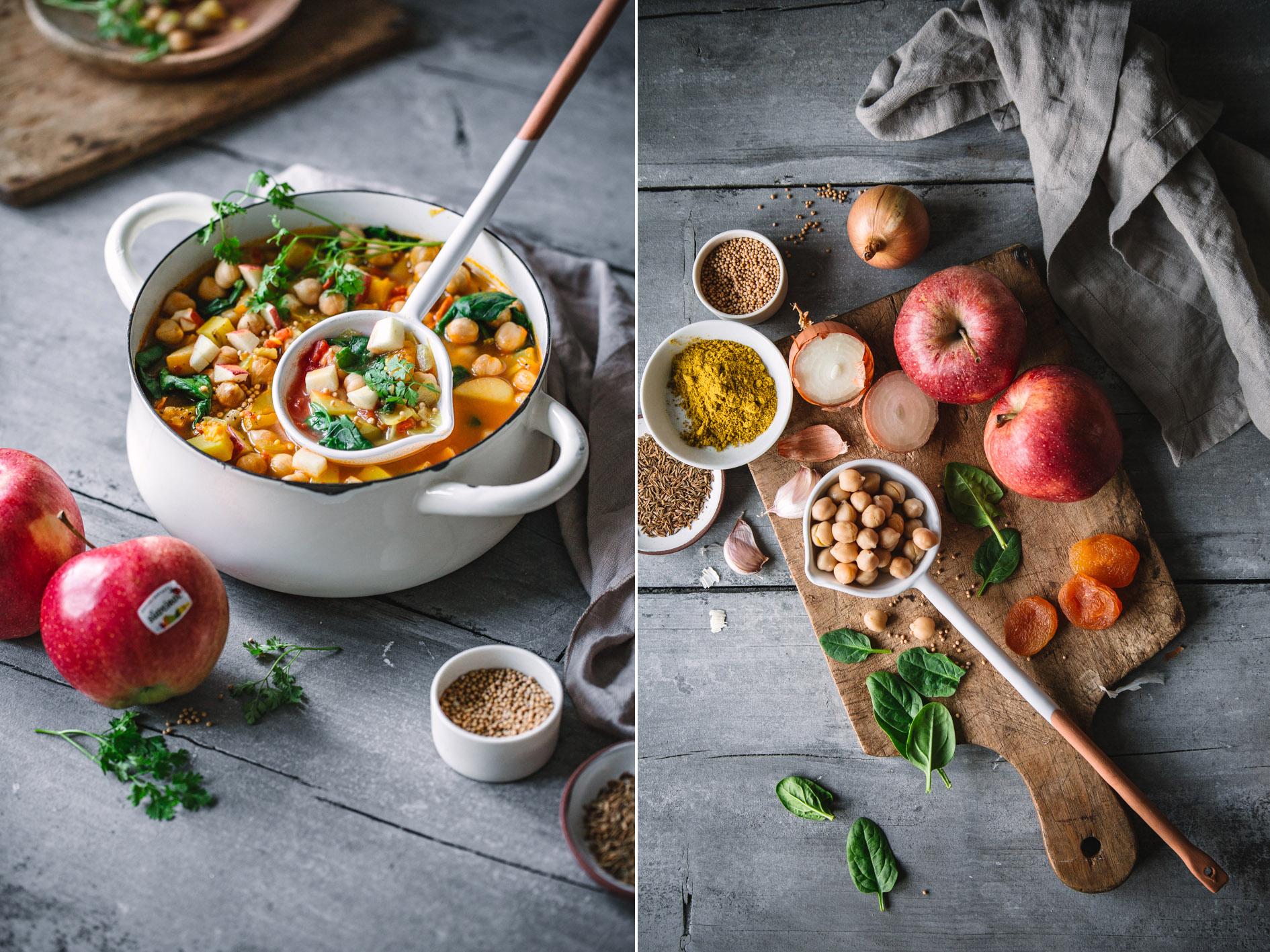 Curry mit Kichererbsen und Apfel