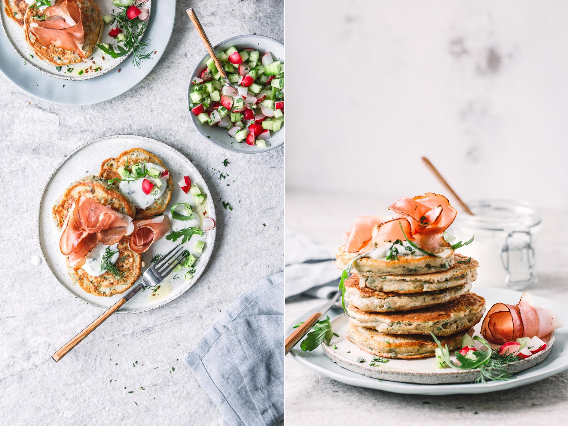 Herzhafte Zucchini Pancakes mit Südtiroler Speck
