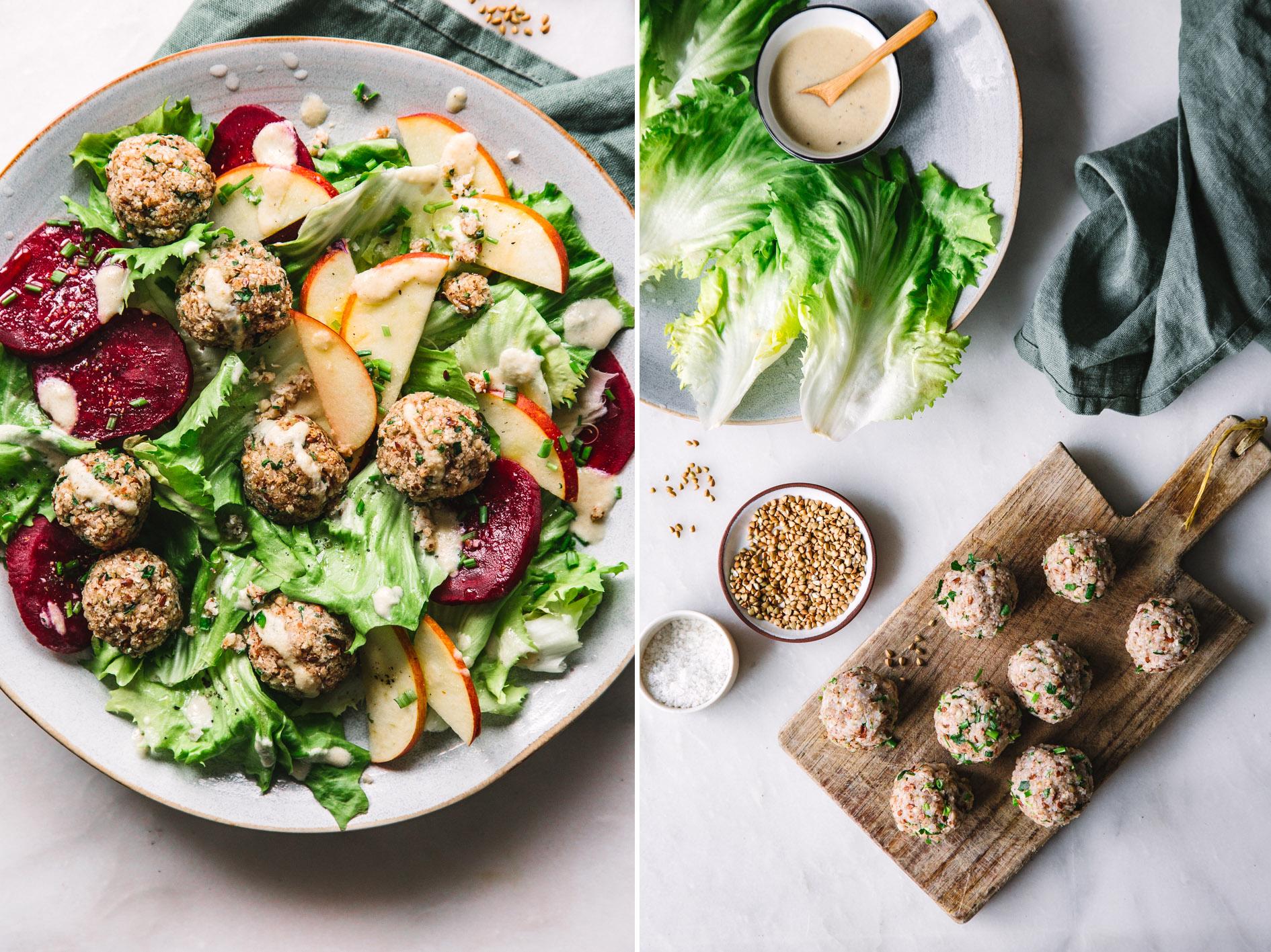 Vegane Buchweizenbällchen mit Salat