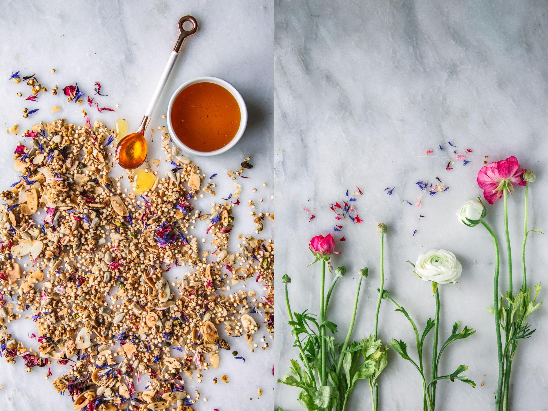 Frühlings-Granola mit getrockneten Blüten und Honig