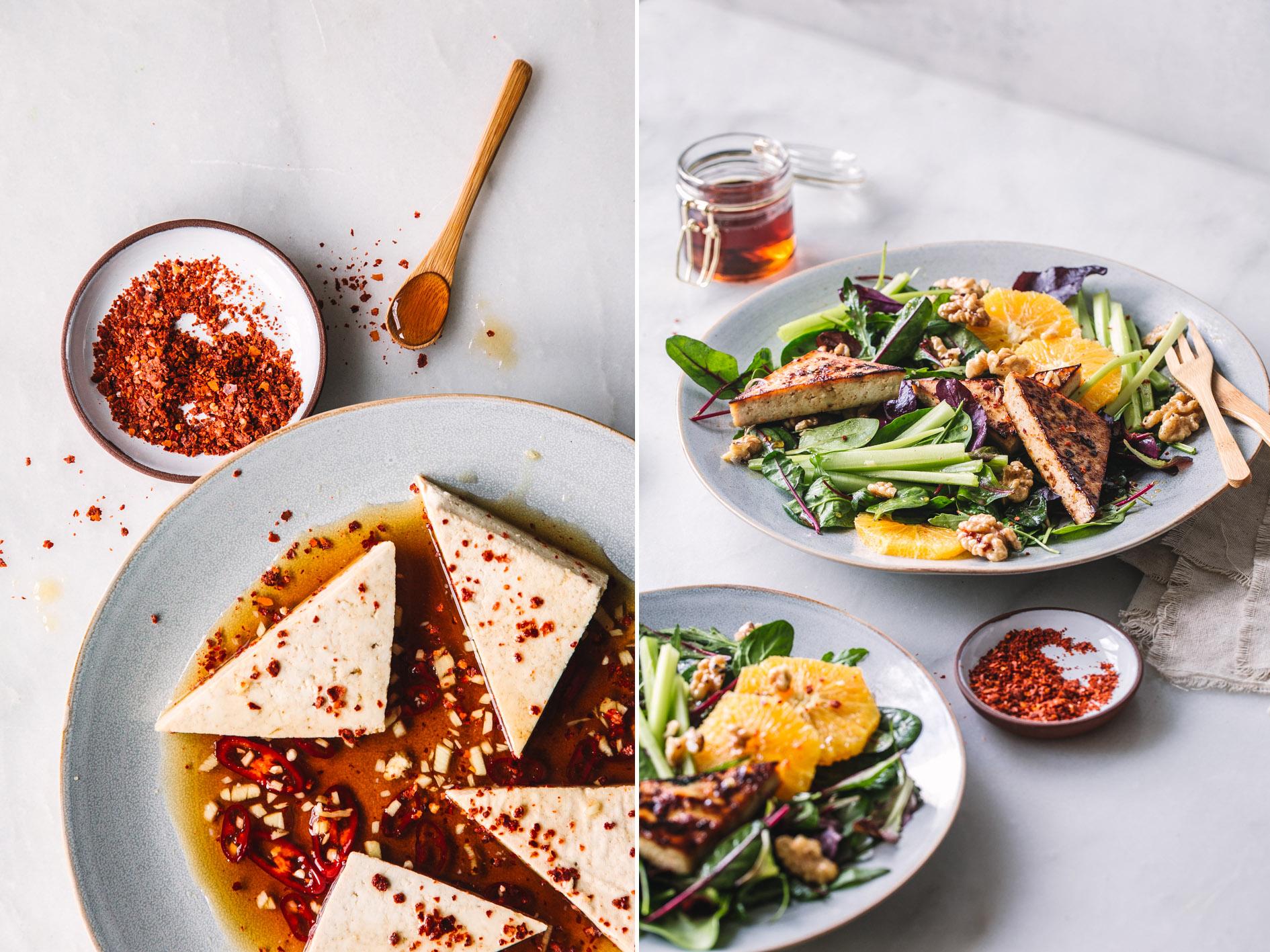 Scharf karamellisierter Tofu auf ORangen-Nuss-Salat