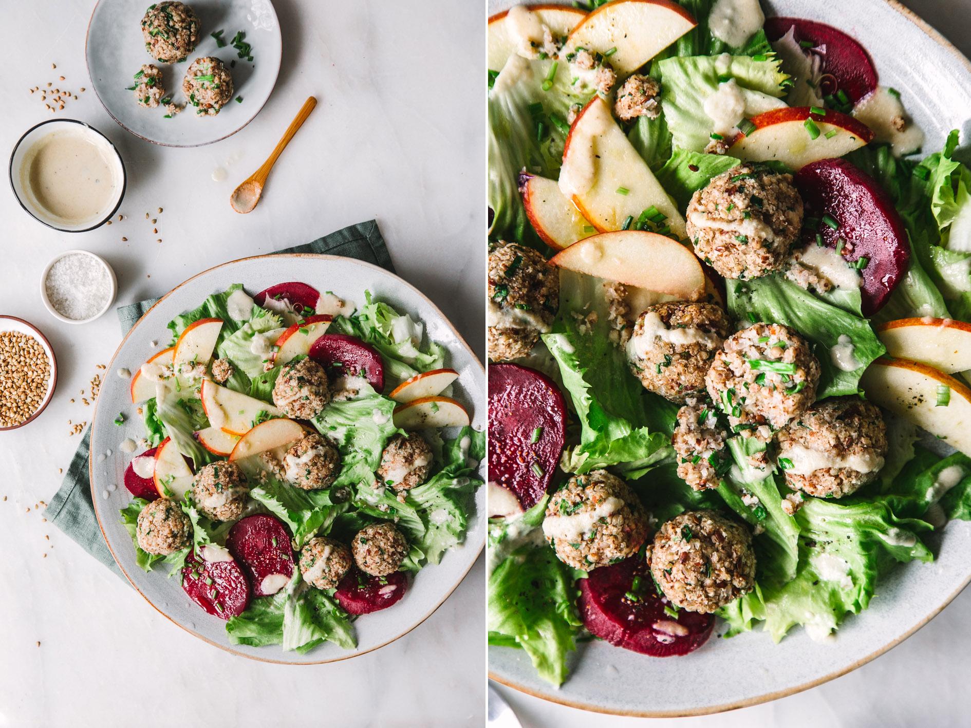 Veganer Salat mit Buchweizenbällchen