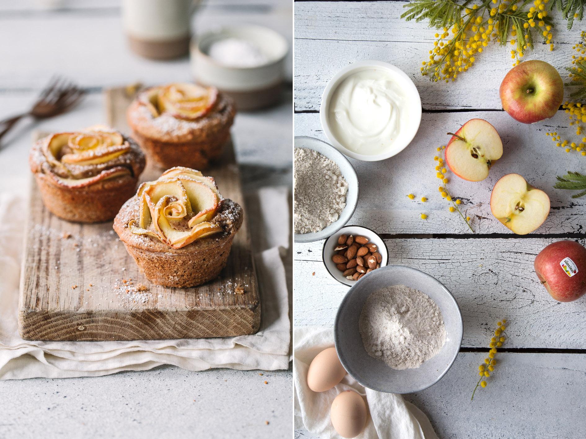 Zutaten für Apfelrosenmuffins